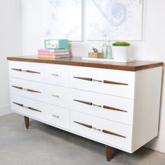 A tired old vintage dresser gets a fresh new look with a little love and a coat of paint, check out the modern new look.