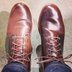 rancourtco: Before and after. Took a break from Bread & Butter Berlin to polish my @horweenleather shell cordovan blake boots #Berlin  rancourtco: usually Venetian shoe cream but tried something new. Saphir cordovan cream in dark brown