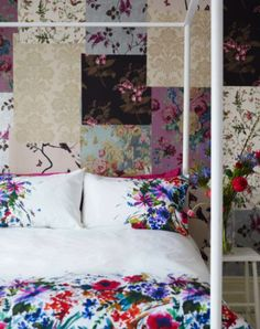 get some free wallpaper samples and redo a feature wall patchwork stylee