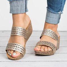 d69c49f90089 Women Wedge Slippers Hollow Casual Comfort Laser Cut Sandals