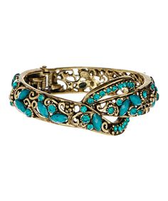 Loving this Turquoise Knot Hinge Bangle on #zulily! #zulilyfinds