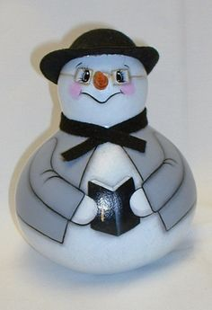 Parson Brown Snowman Gourd  Hand Painted Gourd by FromGramsHouse