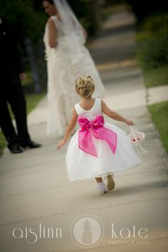 pink flower girl dresses sash - I would want the dress to be light pink and not sure what color the ribbon would be, but I love the idea of a big bow! Friend Wedding, Our Wedding, Dream Wedding, Wedding Stuff, Pink Flower Girl Dresses, Flower Girls, Hot Pink Weddings, Wedding Bells, Wedding Inspiration
