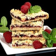 Raspberry Oatmeal Cookie Bars   1/2 cup packed light brown sugar1 cup all-purpose flour1/4 teaspoon baking soda1/8 teaspoon salt  1 cup rolled oats  1/2 cup butter, softened  3/4 cup seedless raspberry jam    Try other jams like strawberry!