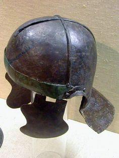 Late Weisenau type Roman helmet, with cross bar reinforcement, from Theilenhofen. Mid-1st century, CE