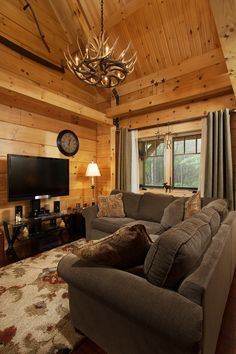 Log Cabin, Log Home, Log Cabin Home, Weekend Retreats, Antler Chandelier,