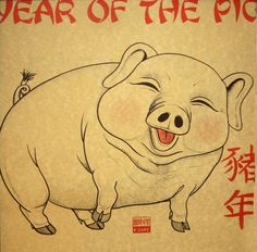 I was born during the year of the pig. Ironic twist of fate. Year Of The Boar, Year Of The Pig, Animals Of The World, Animals And Pets, Tattoo Posters, Year Of The Rabbit, Pig Drawing, New Year's Crafts, Chinese Zodiac Signs