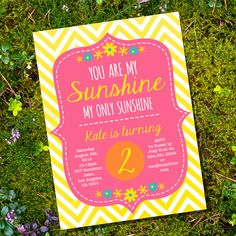 You are My Sunshine Party Invite - Yellow, Orange, Pink - Instantly Downloadable and Editable File - Personalize at home with Adobe Reader on Etsy, $5.52 AUD