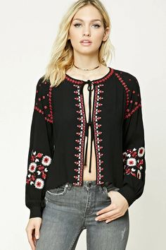 Forever 21 Contemporary - A woven top featuring an allover ornate embroidery, a self-tie front, long sleeves with button cuffs, and a round neckline.