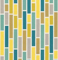 Brick (7864-25) - Albany Wallpapers - A vertical brick style designed wallcovering in multicolour, with yellow, teal, green and grey bricks, bordered in white. Can be hung horizontally for an alternative effect. Please request a sample for true colour match.