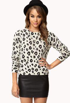 Estampas de bichos continuam fortes para o próximo outono - Leopard Print Sweater -Forever21