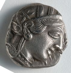 Tetradrachm: Head of Athena (obverse), 500-430 BC Greece, Athens, 5th Century BC silver