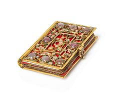 A Dutch Gilt Metal, Enamel and Hardstone Needle Case, in the form of a book with six felted pages, the end boards worked to show birds perch...