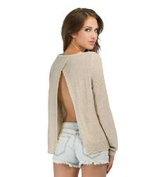 Cheap sweater wholesale, Buy Quality sweater 1 directly from China sweater bags for storage Suppliers:  2014 Autumn Women's Sexy V-ncek Long Sleeve Solid Color Perspective Light Blue Loo