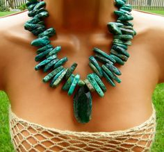 "Turquoise Statement Necklace with green agate slab pendant. Posted as ""natural turquoise"" the slabs are more likely stabilized turquoise or possibly dyed magnesite."