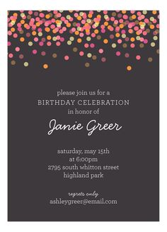 Charcoal Falling #Confetti Invitation : #Party Invitations