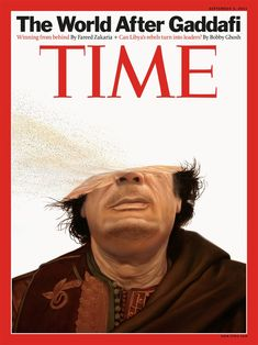 Clever, metaphorical illustration by Tim O'Brien portraying Gaddafi's demise.