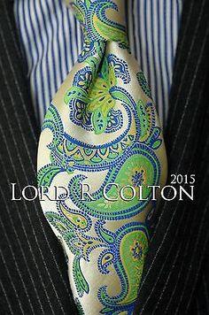 Lord R Colton Masterworks Tie - Martim Vaz Pearl Lime Silk Necktie - $195 New