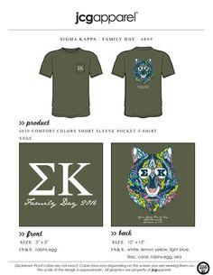 JCG Apparel : Custom Printed Apparel : Sigma Kappa Family Day T-Shirt #sigmakappa #sk #family #greek