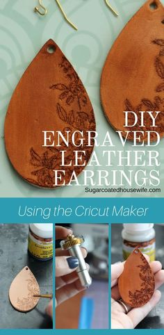 DIY Engraved Leather Earrings using the Cricut Maker What are the Cricut Maker's Tools? When the Cricut Maker was launched 2 years ago, Cricut promised that they would come out with new tools and materials so the Maker would grow with creators… Cricut Ideas, Cricut Tutorials, Diy Leather Earrings, Diy Earrings, Gold Earrings, Do It Yourself Jewelry, Cricut Craft Room, Maker, Bijoux Diy