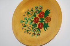 Polish Wood Folk Plate Wooden Plate Vintage Ornament Wood Plate Flowers Decorative plate Hand painted Polish folk art Bohemian Cottage chic by VintagePolkaShop on Etsy