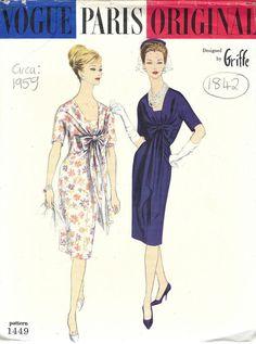 "R253R /'Guy Laroche/' 1950s Vintage VOGUE Sewing Pattern COAT /& DRESS B32/"""