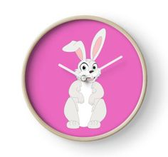 Cute Funny Cartoon Chubby Rabbit Bunny Character Doodle Animal Drawing Home decor ideas for boys and girls , nursery wall clock clocks pink and girly