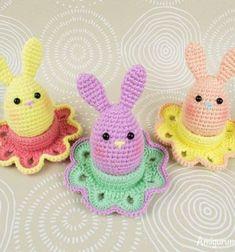 Amigurumi easter egg bunny & egg cozy - free crochet pattern // Horgolt tojás nyuszi tojástartóval - ingyenes amigurumi minta // Mindy - craft tutorial collection // #crafts #DIY #craftTutorial #tutorial