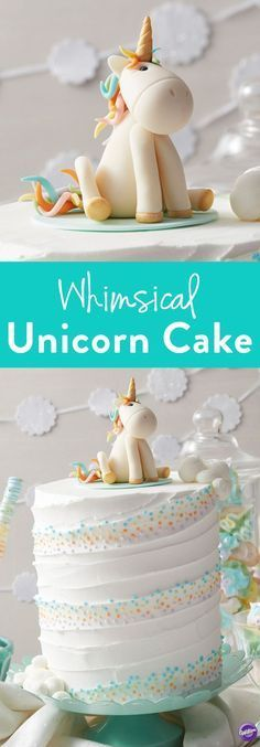 How to Make a Whimsical Unicorn Cake – Learn how to make this adorable Whimsical Unicorn Cake that's great for birthdays and baby showers or any unicorn-themed party! Use Wilton's Shape-N-Amaze Edible Dough to make a unicorn figurine that will serve as the cake's centerpiece.