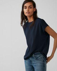 e6e3fe9e9 zip back crew neck blouse express Blue Blouse, Crew Neck, V Neck, Blouses