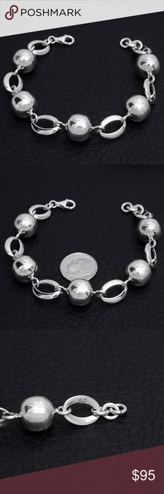 "Sterling Silver Bracelet Stamped ""925"", size 7.5 inches.  This is not a stock photo. The image is of the actual article that is being sold.  Sterling silver is an alloy of silver containing 92.5% by mass of silver and 7.5% by mass of other mThe sterling silver standard has a minimum millesimal fineness of 925.   All my jewelry is solid sterling silver. I do not plate.   Made in Taxco, Mexico Jewelry Bracelets"