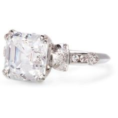 Art Deco Platinum Ring Genuine Antique Mounting w/ 3.00 Carats Asscher Cut Faux Diamond- WOW!! :)