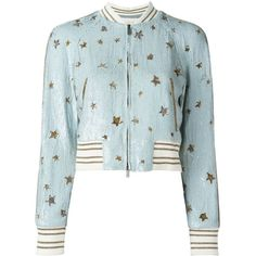 Valentino star sequinned bomber jacket ($6,980) ❤ liked on Polyvore featuring outerwear, jackets, blue, star jacket, sequin jacket, blouson jacket, sequin bomber jacket and silk jacket