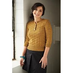 Spunky 10-ply jumper. Three-quarter length sleeves are the bane of Winter, but it wouldn't be hard to lengthen 'em. Dimbala Knitting pattern by Laura Chau | Knitting Patterns | LoveKnitting