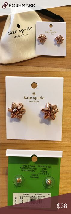 New Kate Spade Rose Gold Christmas Bow Earrings These are too cute! They look like they belong on a Christmas package! Great secret Santa gift. Earrings come in Kate Spade pouch. kate spade Jewelry Earrings