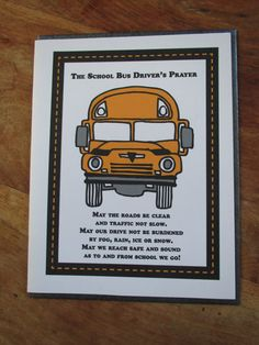 Bus Driver's Prayer greeting card thank you by CreaseStudio