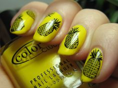 Pineapple Konad over Color Club, Almost Famous