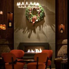 The fireplace was dressed for the holidays. 1313 Main. Downtown Napa.