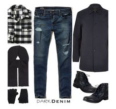 """""""Menswear Essential: Dark Denim'"""" by dianefantasy ❤ liked on Polyvore featuring Hollister Co., L.L.Bean, River Island, The Elder Statesman, Hardy Amies, A.S. 98, men's fashion, menswear, polyvorecommunity and polyvoreeditorial"""