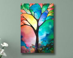 "Abstract tree print, giclee print on stretched canvas from my original painting, stained glass tree, tree of life painting print. This abstract tree giclee print on canvas is made from my beautiful original painting ""Tree of Light"". Tree Of Life Painting, Abstract Tree Painting, Tree Of Life Art, Abstract Landscape, Painting Abstract, Texture Painting, Tree Paintings, Geometric Painting, Light Painting"