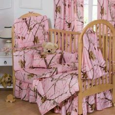 Pink camouflage baby bedding and camo nursery decorating ideas for baby girls. Crib sets with matching curtains and nursery decor in pink camo. Pink Camo Nursery, Pink Camo Baby, Camo Baby Stuff, Girl Camo, Girl Nursery, Nursery Room, Baby Crib Sets, Baby Bedding Sets, Baby Cribs