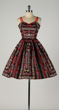vintage 1950s dress . black cotton . colorful by millstreetvintage