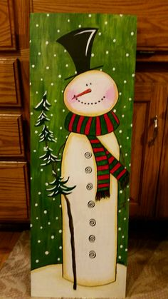 Christmas Wood Crafts, Christmas Signs Wood, Snowman Crafts, Christmas Projects, Holiday Crafts, Christmas Paintings On Canvas, Christmas Canvas, Christmas Art, Christmas Ornaments