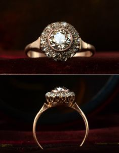 1890s Victorian Rose Cut Diamond 14K Ring 0.82ct Old European Cut Diamond Center (Light Yellow Color, SI3 Clarity)(sold)