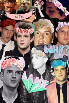 """""""I made a collage of brandon flowers wearing flower crowns"""""""