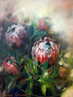 Isabel Naudé Protea Art, Protea Flower, Flower Canvas, Flower Art, Art Flowers, Pictures To Paint, Art Pictures, South African Artists, Flower Images