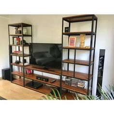 wood Shelves Under TV TVs is part of Tv furniture - Welcome to Office Furniture, in this moment I'm going to teach you about wood Shelves Under TV TVs Tv Furniture, Steel Furniture, Furniture Projects, Furniture Dolly, Shelf Design, Cabinet Design, Industrial Design Furniture, Furniture Design, Industrial Metal