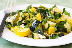 Roasted Zucchini Recipe with Green Onions, Feta Cheese, and Basil. Trying this for lunch today!