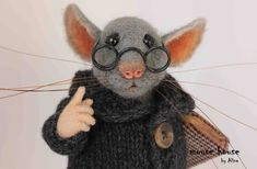 Mouse with Book and Glasses Collectable Doll Grey Rat Felted Mouse Gift for Boyfriend Needle Felted Animal OOAK Art Doll by MouseHousebyAlina on Etsy https://www.etsy.com/ca/listing/250499925/mouse-with-book-and-glasses-collectable