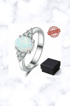 Fire Opal 925 Sterling Silver White Gold Gemstone Jewelry Ring
